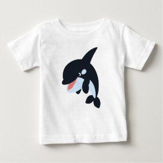 Camiseta Para Bebê T-shirt alegre bonito do bebê da baleia de