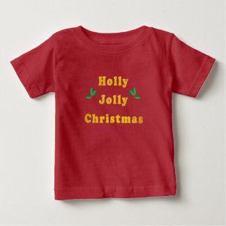 Camiseta Para Bebê T-shirt alegre do bebê do Natal do azevinho