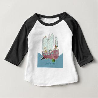 Camiseta Para Bebê T-shirt americano do Raglan da luva da arca de