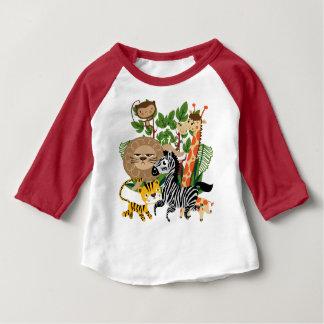 Camiseta Para Bebê T-shirt animal do Raglan do bebê do safari