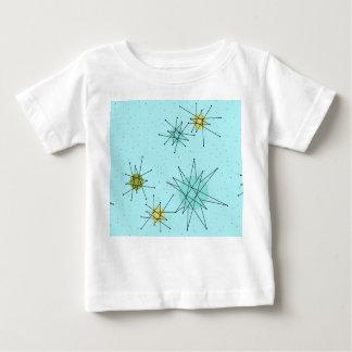 Camiseta Para Bebê T-shirt atômico azul de Starbursts do ovo do pisco