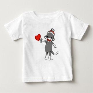 Camiseta Para Bebê T-shirt bonito do bebê do macaco da peúga do