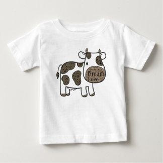 Camiseta Para Bebê T-shirt bonito do jérsei da multa do bebê com vaca