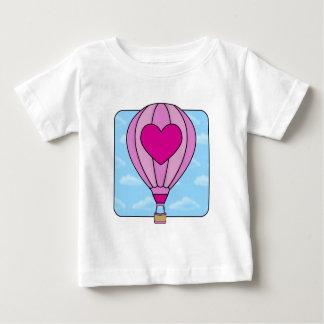 Camiseta Para Bebê T-shirt cor-de-rosa do balão de ar quente do