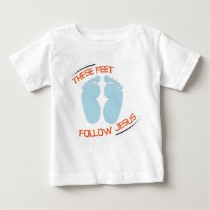 Camiseta Para Bebê T-shirt cristão do bebê: Siga Jesus