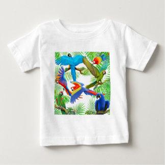 Camiseta Para Bebê T-shirt da criança da selva do Macaw