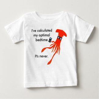 Camiseta Para Bebê T-shirt das horas de dormir do calamar da