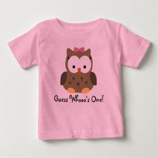 Camiseta Para Bebê T-shirt do aniversário da coruja bonito do bebé