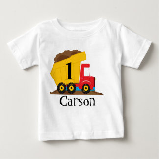 Camiseta Para Bebê T-shirt do aniversário do camião basculante