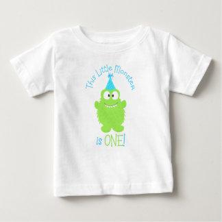 Camiseta Para Bebê T-shirt do aniversário do monstro pequeno adorável