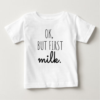 """Camiseta Para Bebê T-shirt do bebê """"aprovado, mas primeiro leite """""""