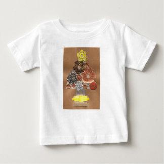 Camiseta Para Bebê T-shirt do bebê da árvore de Natal de Steampunk