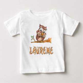 Camiseta Para Bebê T-shirt do bebê da coruja de Laurene