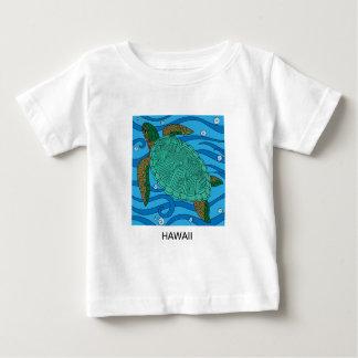 Camiseta Para Bebê T-shirt do bebê da tartaruga de mar verde