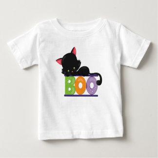 Camiseta Para Bebê T-shirt do bebê da vaia do gato preto