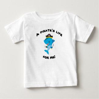 Camiseta Para Bebê T-shirt do bebê da vida do pirata de Sharky