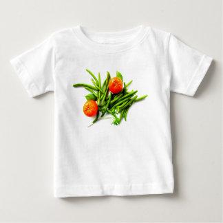 Camiseta Para Bebê T-shirt do bebê das laranjas e dos feijões verdes