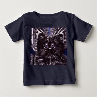 Camiseta Para Bebê T-shirt do bebê do gato da traça do gato preto