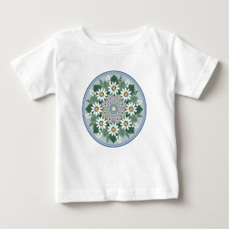 Camiseta Para Bebê T-shirt do bebê do medalhão da margarida