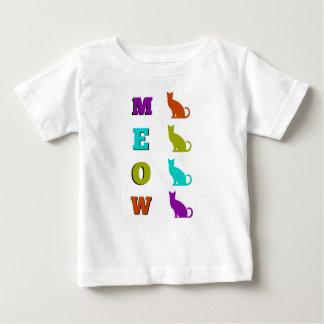Camiseta Para Bebê T-shirt do bebê do MEOW da silhueta do gato do Dia
