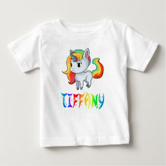 Camiseta Para Bebê T-shirt do bebê do unicórnio de Tiffany