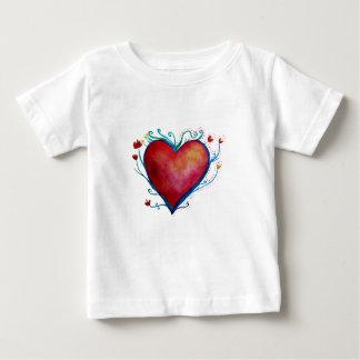 Camiseta Para Bebê T-shirt do jérsei da multa do bebê do coração
