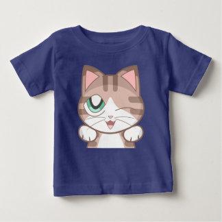 Camiseta Para Bebê T-shirt do jérsei da multa do bebê do gato de