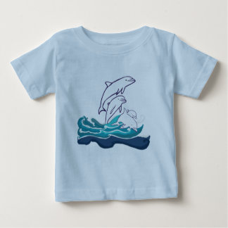 Camiseta Para Bebê T-shirt do jérsei da multa do bebê dos golfinhos,