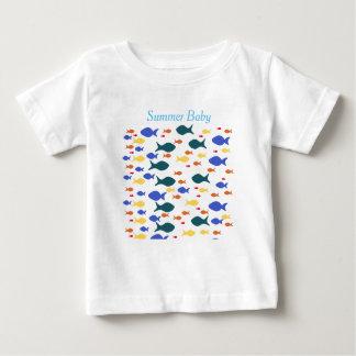 Camiseta Para Bebê T-shirt do jérsei da multa do bebê dos peixes,