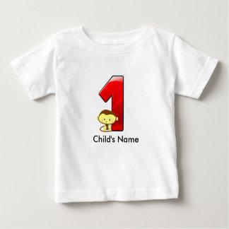 Camiseta Para Bebê T-shirt do macaco do primeiro aniversario