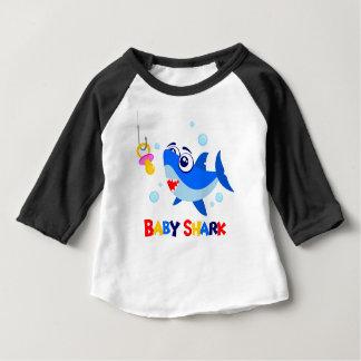 Camiseta Para Bebê T-shirt do Raglan da luva do tubarão 3/4 do bebê