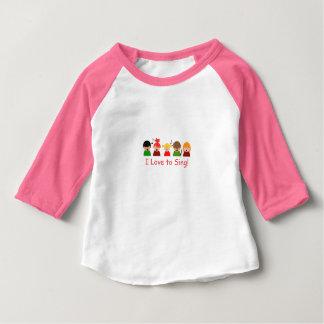 """Camiseta Para Bebê T-shirt do Raglan dos bebés """"que eu amo cantar"""" a"""
