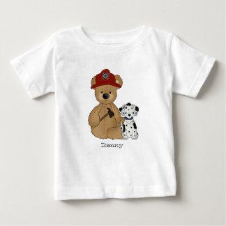 Camiseta Para Bebê T-shirt do ursinho do bombeiro