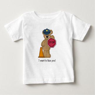 Camiseta Para Bebê T-shirt do urso de ursinho do polícia