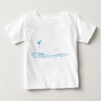 Camiseta Para Bebê T-shirt dos bebês do jérsei da baleia de Wally