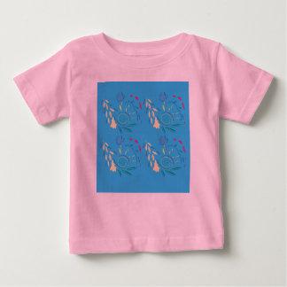 Camiseta Para Bebê T-shirt dos desenhistas com os ornamento azuis