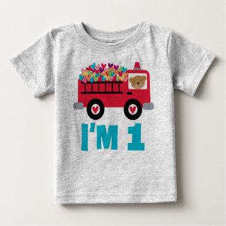 Camiseta Para Bebê T-shirt dos meninos do bombeiro do carro de