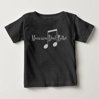Camiseta Para Bebê T-shirt escuro do jérsei do bebê do dueto (notas)
