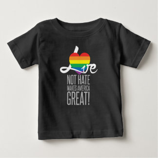 Camiseta Para Bebê T-shirt escuro do jérsei do bebê do ódio do amor