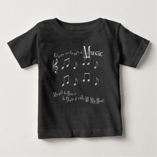 Camiseta Para Bebê T-shirt escuro do jérsei do bebê do presente