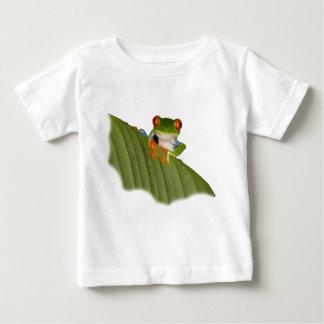 Camiseta Para Bebê T-shirt Eyed vermelho do bebê do sapo de Gaudí