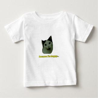 Camiseta Para Bebê T-shirt feliz do bebê da cara do gato