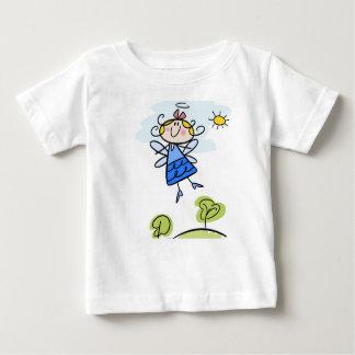 Camiseta Para Bebê T-shirt fino do jérsei do bebê com anjo dos