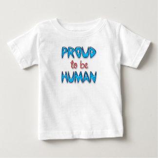 Camiseta Para Bebê T-shirt fino humano orgulhoso do bebê do jérsei