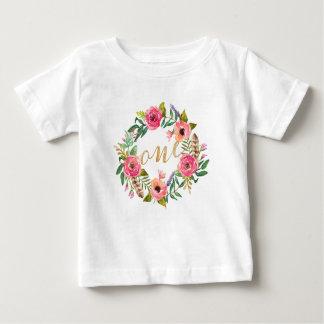 Camiseta Para Bebê T-shirt floral cor-de-rosa do primeiro aniversário