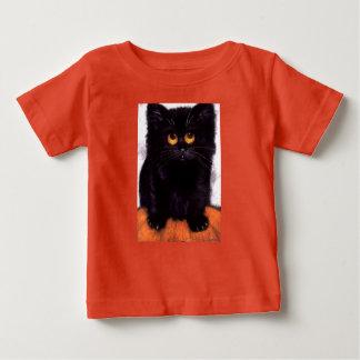 Camiseta Para Bebê T-shirt grande do bebê dos olhos do gato preto