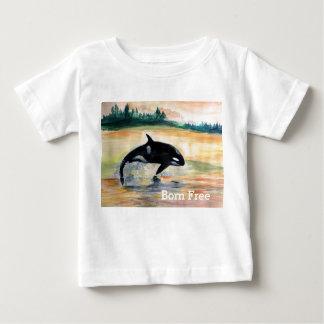 Camiseta Para Bebê T-shirt livre do jérsei da multa do bebê da baleia