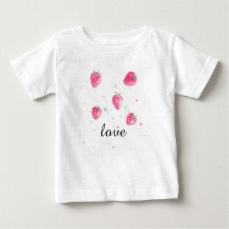 Camiseta Para Bebê T-shirt natural fresco da morango da fruta para