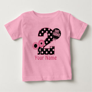 Camiseta Para Bebê T-shirt personalizado do segundo aniversário preto