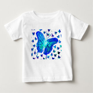 Camiseta Para Bebê T-shirt pintado mão do bebê da borboleta
